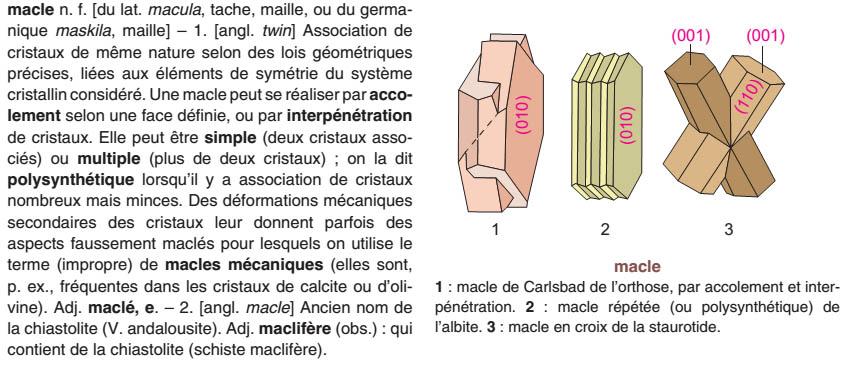 Accueil > Ouvrages > Dictionnaire de Géologie >macle
